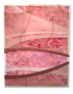 ERIC MISTRETTA WORK Synthetic flowers, pantyhose, canvas & wood