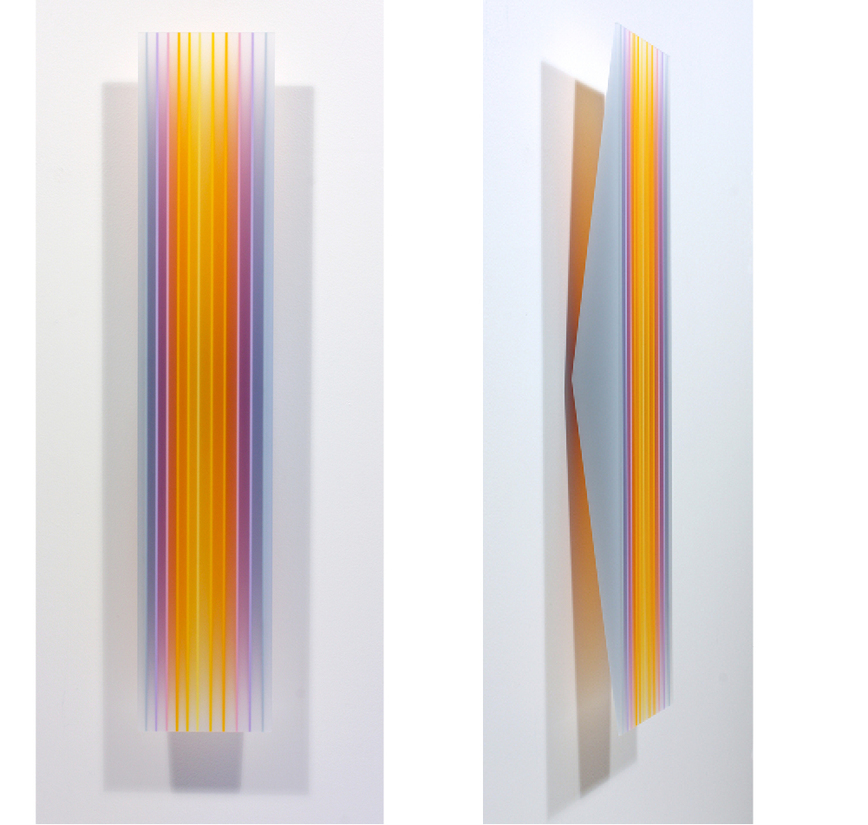 sculpture yellowmagenta stripe