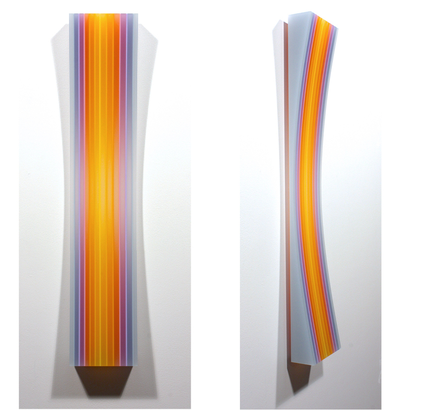 sculpture yellowmagenta stripe concave