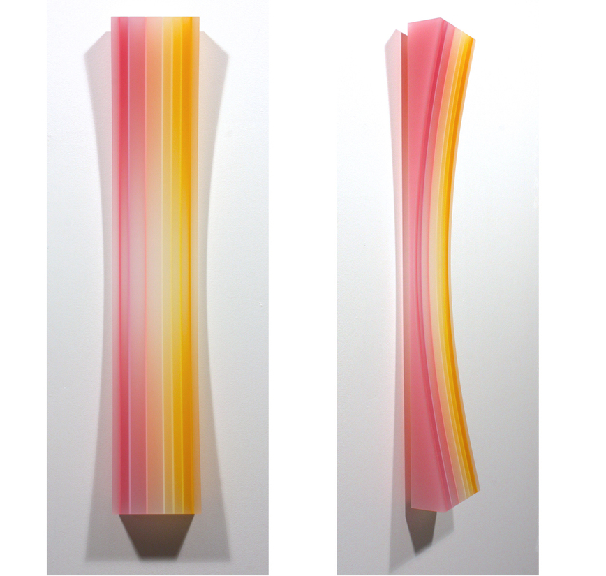 sculpture yellowpink long concave