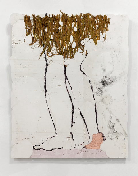 ERIN LEE JONES 2017 Hydrocal, unraveled burlap, fabric, acrylic, aluminum foil