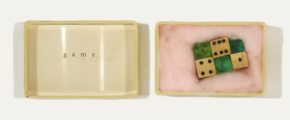 ERIC SHULTIS Objects type on acetate, dice, vintage box with pink cotton