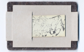 ERIC SHULTIS MOPA piano ivory, candy wrapper, felt, rubber stamp