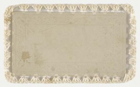 ERIC SHULTIS MOPA Victorian calling card, acetate with crocheted edge