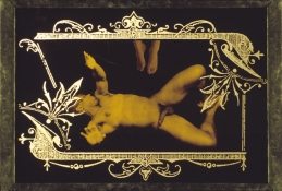 ERIC SHULTIS Earlier Photo photo on tin, gold glass, silk screen on glass, velvet