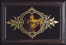ERIC SHULTIS Earlier Photo photo on glass, gold paint, silk screen, wood