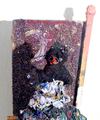 Paint Piles  oil, glitter, stone, root on wood construction.