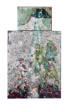 New Work oil, silver glitter, Guerra Silver Pigment on canvas diptych.