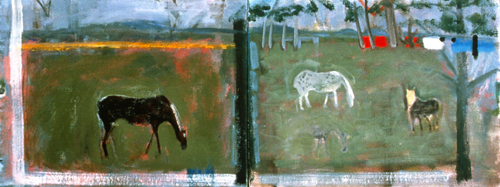 PAINTINGS 1989-1998 Three Horses, St. Lucia (diptych)