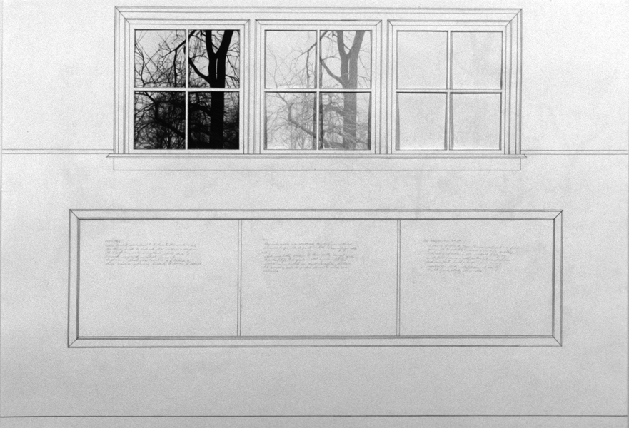 P. S.1:  (1976–1978) PHOTOGRAPHY/DRAWING/DIARY Studio at P. S. 1, Three Windows and Blackboard with Diary Entry:  Inside/Outside