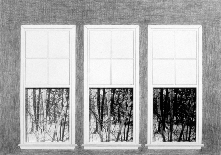 P. S.1:  (1976–1978) PHOTOGRAPHY/DRAWING/DIARY Three Windows and Birch Trees