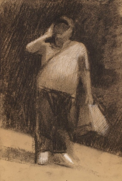 Frank Hobbs Drawings Charcoal and conte on toned laid paper