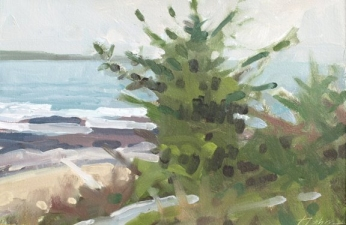 Frank Hobbs Paintings: Maine Oil on rag paper