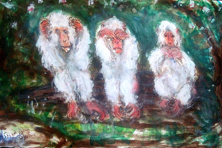 Fred Adell - Wildlife Artist Mammals - Primates Mixed-Media (ink, watercolor, tempera, oil pastel) on Watercolor Paper