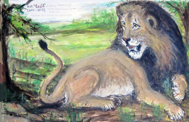Fred Adell - Wildlife Artist Cats (wild) Mixed Media on Illustration Board