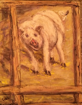 Fred Adell - Wildlife Artist Pigs acrylic on canvas panel