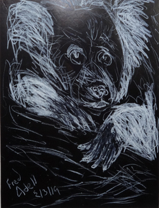 "Fred Adell - Wildlife Artist Mammals - Primates white laundry marker on 8"" x 10"" black paper"