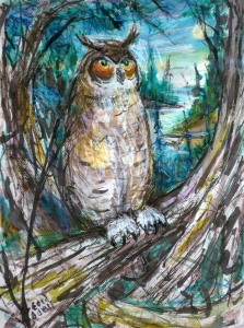 Fred Adell - Wildlife Artist Owls mixed media on paper