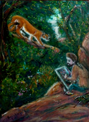 Fred Adell - Wildlife Artist Cats (wild) 1995       Acrylic