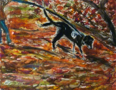 Fred Adell - Wildlife Artist Dogs - Domesticated mixed media on paper