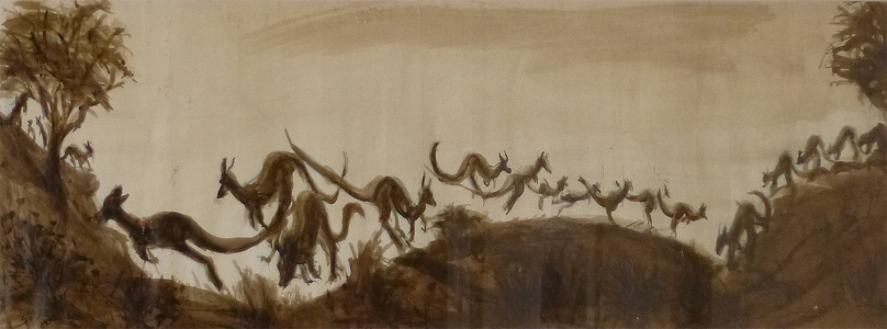 Fred Adell - Wildlife Artist Kangaroos Sepia on Basingwerk Parchment