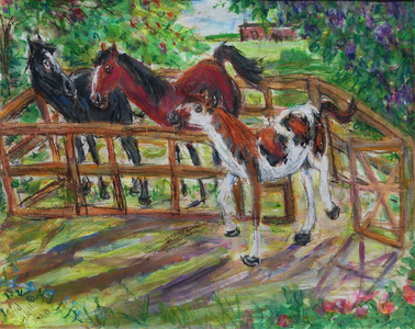 Fred Adell - Wildlife Artist Giraffes and Horses Mixed Media (ink, watercolor, tempera, oil pastel)