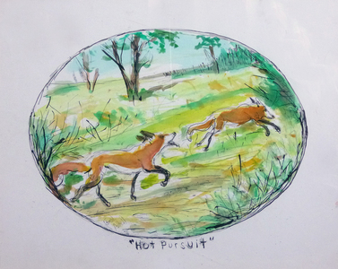 Fred Adell - Wildlife Artist Dogs (wild) Mixed media (ink, watercolor, tempera, oil pastel)