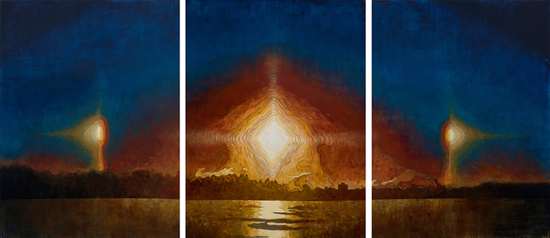 FRANK WEBSTER Sun Dog Triptych acrylic on canvas
