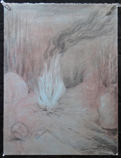 Gabrielle Barzaghi                     DRAWINGS Paleolithic Picnic Graphite and Pastel