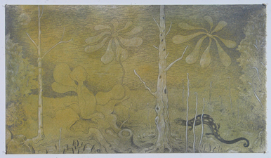 Gabrielle Barzaghi                     DRAWINGS Paleolithic Picnic Graphite, Pigment