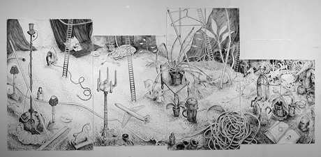 Gabrielle Barzaghi                     DRAWINGS Invasion (2014 / 2015) Brush and ink on paper