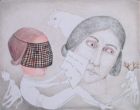 Gabrielle Barzaghi                     DRAWINGS Stoning Charlotte Bronte (2016 / 2017) Ink, Graphite, Color Pencil
