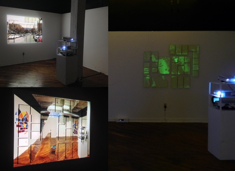 "Digital Files of Artists Eric Valosin, ""Luma,"" 50"" x 70"", Digital Projection, Interactive Video, and Glow-in-the-Dark Paint on Masonite; Original software and hardware, 2013"