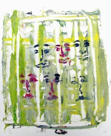 Digital Files of Artists leslie weissman, hidden faces green,  12 x 16 Monotype with oil and ink on paper 2013