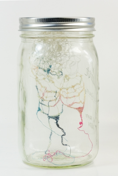 "Digital Files of Artists Yuko Parris,Moment Ago #3, 6.5""H x 3.5""W x 3.5""W, threads, and glass bin, 2013"