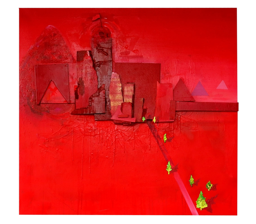 "Digital Files of Artists Elliott Decesare, Gap Between Red Mountains, 36""X36"", Mixed Media, 2013"