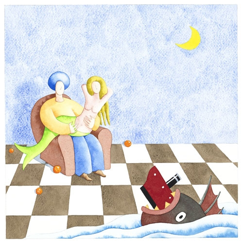 Digital Files of Artists PAUL ROOMS, STORY OF THE MARINER, 12X12, PAPER/WATERCOLOR, 2013