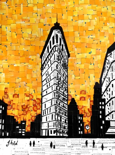 "Digital Files of Artists Nina Boesch, Flatiron Building, 11""x14"", cut-up MetroCards, 2013"