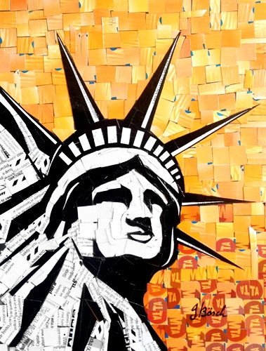 "Digital Files of Artists Nina Boesch, Statue of Liberty, 8""x10"", cut-up MetroCards, 2013"