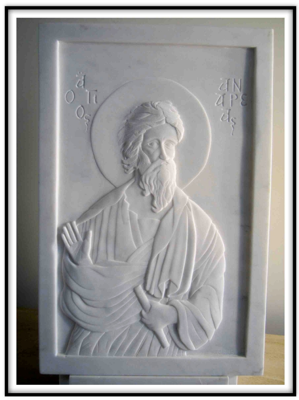 Digital Files of Artists Paul Maus, Icon Of Saint Andrew, 18x28x1inches, marble, 2012