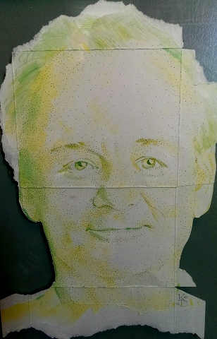 Digital Files of Artists Kenney Dao, Bill Murray, 16in x 10in, Cardboard watercolor ink, 2013