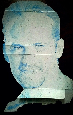 Digital Files of Artists Kenney Dao, Paul Walker, 17in x 11in, cardboard watercolor ink, 2013