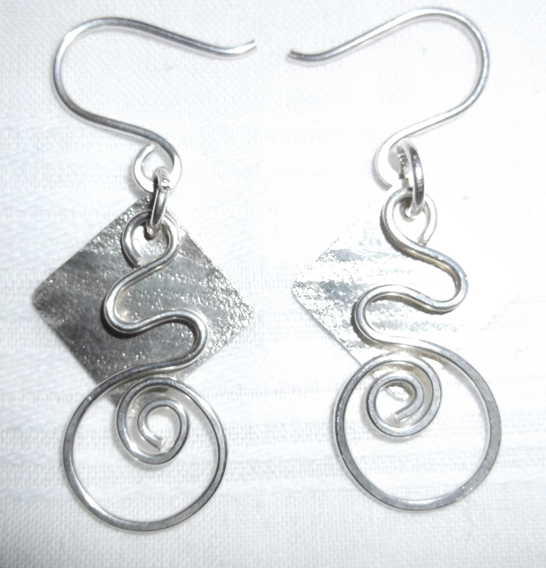 Digital Files of Artists Sterling Silver Earrings, 1 3/4 by 3/4, metal, 2013