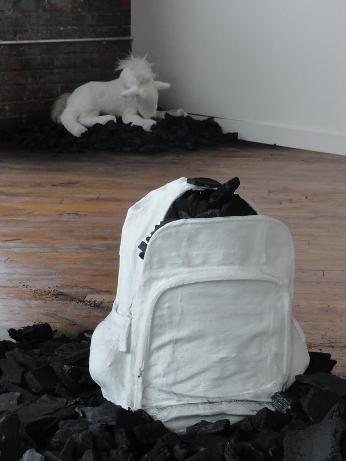 "Digital Files of Artists Flavia Berindoague, ""You are better than me"", dimensions variable, plaster, coal, foam, photograph, text on photo paper, metal frame, 2013"