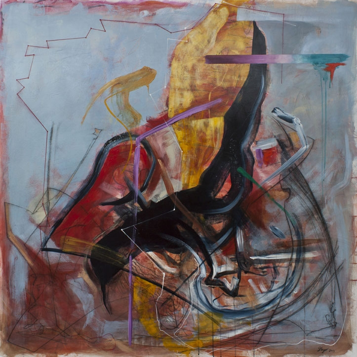 "Digital Files of Artists Detlef Gotzens. Demise of the Thunderbird, 48"" x 48"" x 1.75"", Acrylic and charcoal drawing on cradled panel, 2013"