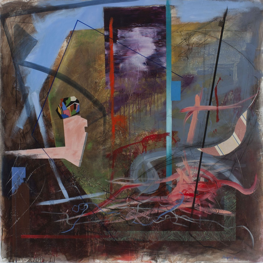"Digital Files of Artists Detlef Gotzens. Persistence of rational space in fermented abstraction, 48"" x 48' x 1.75"", Acrylic, charcoal drawing and collage on cradled panel, 2013"