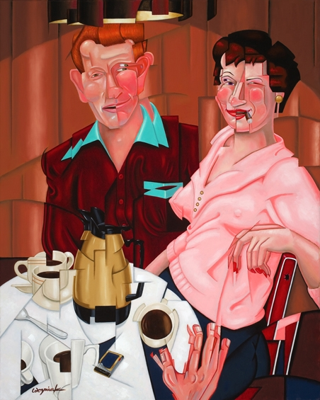 "Digital Files of Artists Harry Wozniak, Hot Coffee, 30""x24"", oil on linen, 2013"