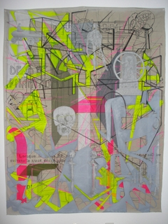 Digital Files of Artists Faber_Lorne_CasusBelli #1: Dead by phantasms. 2012. Mixed media on treated Canvas Drop Cloth. 4x5,7 Feet.
