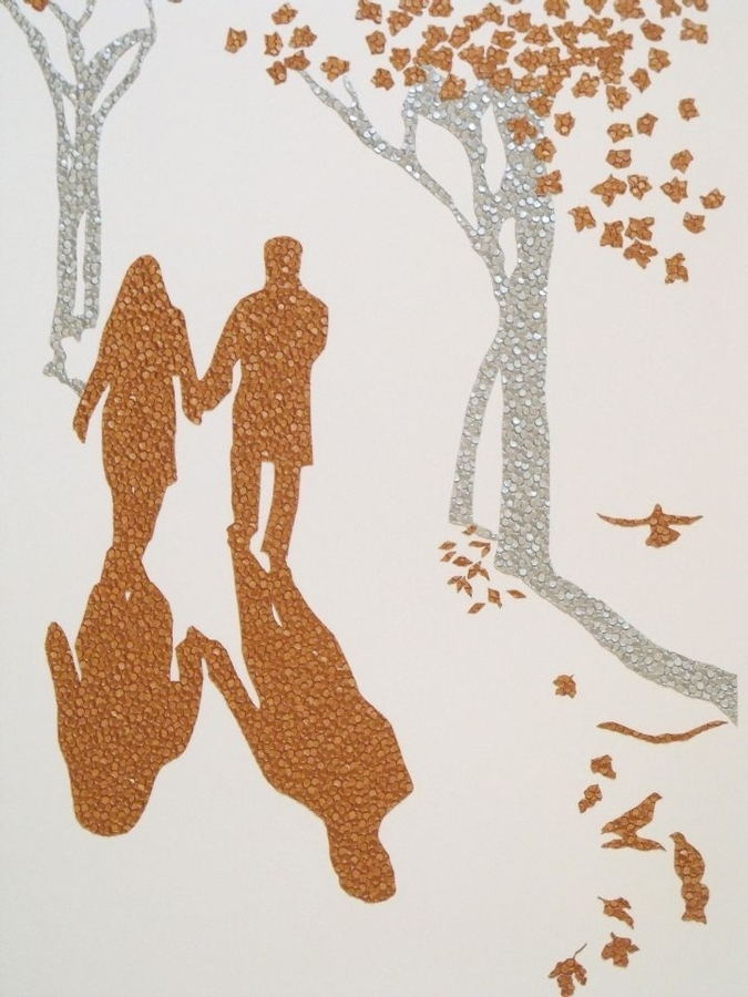 Digital Files of Artists Adam Hardy. Couple Silhouette. 24x20ins. studded card. 2013.