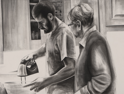 "Digital Files of Artists Mack Gingles, Tollhouse, 30""x40"", Charcoal on paper, 2014"